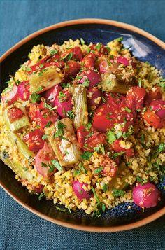 Spiced Bulgur Wheat with Roast Vegetables | Nigella's Recipes | Nigella Lawson Roasted Vegetables, Veggies, Moroccan Vegetables, Black Bean Casserole, Bulgar Wheat, Aloo Gobi, Nigella Lawson, Vegetarian Recipes, Bulgur Recipes