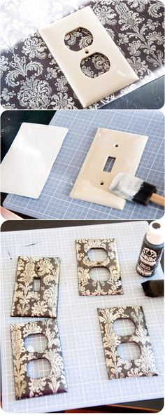 Never thought of this!!  DIY :: Decorated with Scrapbook Papers - Light Switch and Outlet Covers ( http://www.housewivesofriverton.com/2011/10/covered-light-switch-outlet-plates.html )