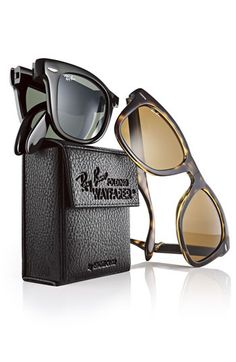 Ray Ban folding Wayfarer he's always loosing, breaking, crushing. This may be the answer.