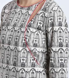 Ivory & Black Printed Khadi Kurta Set Kurti Neck Designs, Salwar Designs, Sleeve Designs, Blouse Designs, Design Of Neck, Khadi Kurta, Ethnic Trends, Kurti Patterns, Blouse And Skirt