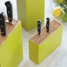 Bamboo Box Knife Holder | Each knife storage block is filled with food-safe bamboo skewers to safely hold your best kitchen knives in place without dulling them. | VivaTerra