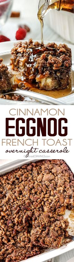 Easy Overnight Cinnamon Eggnog French Toast Casserole All Prepared In Advance Makes It Perfect For Christmas Or Special Occassion Breakfast. What's more, The Brown Sugar Pecan Crumble Is Amazing Seriously The Best French Toast Casserole Ever Breakfast Party Foods, What's For Breakfast, Breakfast Dishes, Breakfast Recipes, Breakfast Casserole, Breakfast Potluck, Vegetarian Breakfast, Vegan Vegetarian, Eggnog French Toast
