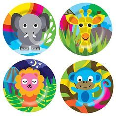 "8"" Melamine Kids Plate (Set of 4), Jungle ~ Casa $26.10"