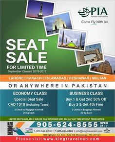 Travel Any Where Specially When It's Holiday Tours , It's Important To Have Best Way Of Transport To Travel & EnJoy The Journey King Travels Care About Your Comfort & Providing You Seats Of Pakistan Best International Airline #PIA With in Reasonable Price Any Where In #PAKISTAN . So , What Are You Waiting For Grab Your Tickets Now . Contact : Call : 905-624-8555 Email: Info@KingTravelCan.com Visit: www.kingtravelcan.com #Tour #Comforts #PIA #LIMITEDTickets #KINGTRAVELS