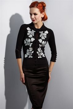Wheels and Dollbaby Dita Cardigan Black with blue roses