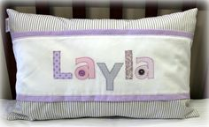 Layla Name Scatter in pink, lilac & stone Designed by: Tula-tu Baby Linen Layla Name, Pink Grey, Lilac, Girl Names, Baby Decor, Cot, Baby Room, Diaper Bag, Nursery
