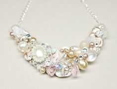 Blush Bridal Bib Necklace Blush Statement Necklace by BrassBoheme, $70.00