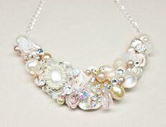 Blush Bridal Bib Necklace Blush Statement Necklace by BrassBoheme, $70.00