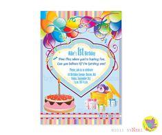 First Birthday Invitation / Card Balloons Cake