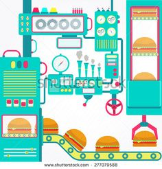 Burgers factory. Colorful factory of hamburger with cute machines. Flat design. - stock vector