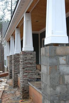 50 Adorable Exterior House Porch Ideas Using Stone Columns Craftsman Columns, Craftsman Porch, Craftsman Style Homes, House With Porch, House Front, Front Porch Pillars, Porch With Columns, House Columns, Stone Porches