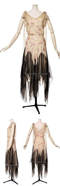 "Evening dress, Vionnet, 1929. Silk gauze with silk embroidery. Photos: Jean Tholance. Les Arts Décoratifs via Europeana Fashion F calls this ""the vampire dress."""