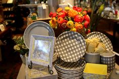 Grey & yellow dishes. Kitchen Remodeling, Remodeling Ideas, Grey Yellow, Gray, Kitchen Dining, Wicker, Dishes, Table Decorations, Home Decor