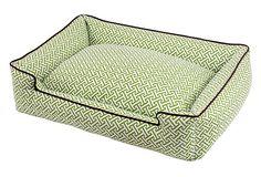 Green & White Print Dog Bed
