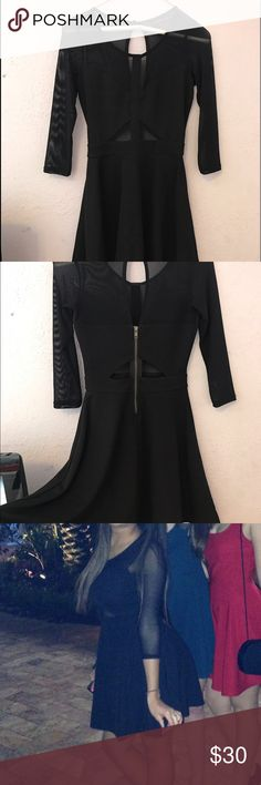 Material Girl Dress Black dress with mesh sleeves and mesh cutouts. Has only been worn once! I'm a size 32D and the dress was tight on my chest area. Fit nicely everywhere else. Material Girl Dresses Mini