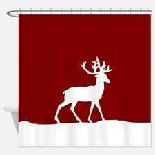 Deer in the snow Shower Curtain for