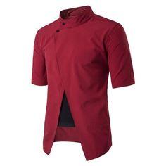 New Fashion Mens Fake Two Piece Shirts 2017 Summer Hipster Mandarin Collar Short Sleeve Split Dress Shirts Slim Fit Tops Camisa