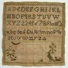 C1823 New England Antique Needlework Sampler Jane Church Age 10 Ashfield Mass