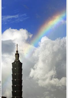A Rainbow over 101 Skyscraper in Taipei City, Taiwan
