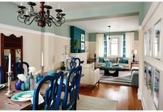 For this dining and living room space makeover, Sarah Richardson created a turquoise and white inspired, dream retreat/entertaining space in Season Episode 1 of Real Potential. Farrow And Ball Paint, Farrow Ball, Sarah Richardson, Diy Kitchen, Hgtv, Paint Ceiling, Dining Room, Blue Chairs, House Design