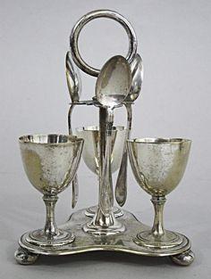SUPERB ANTIQUE SILVER PLATED EGG CUP CRUET STAND 1880 coddler