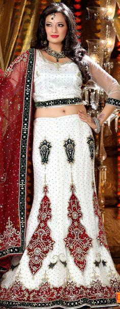 Off White Net #A-line #Bridal #Lehenga Online | @ $515.76