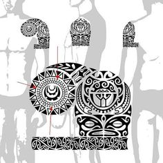 Polynesian Chest and Sleeve Tattoo