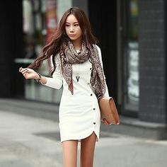 Women's European Casual Long Sleeve  Solid color  Plus Sizes Dress – CAD $ 13.49