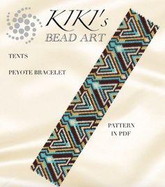 Peyote bracelet pattern, Tents peyote pattern for bracelet in PDF - geometric patterned - instant do Lace Bracelet, Peyote Beading, Bracelets, Bead Loom Patterns, Peyote Patterns, Bracelet Patterns, Beading Patterns, Tutorials, Necklaces