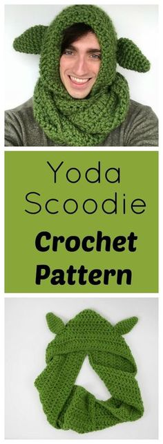 25df352c98e Free Crochet Yoda Scoodie Pattern. Can be made by beginners and uses super  chunky yarn