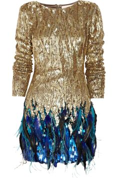 Matthew Williamson  Sequin and feather hand-woven dress