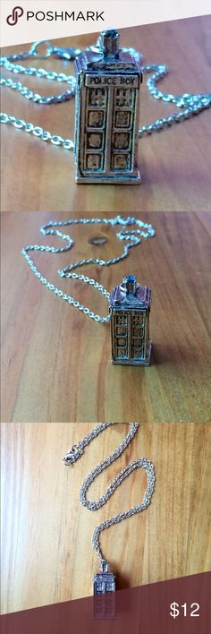 "🆕 Doctor Who Silver Plated Tardis Necklace Silver plated 3-D Tardis pendant with silver played chain. Blue/Green gemstone tops box. Approximately 13"" long. Please ask if you have questions. Whovian. Time Lord. Torchwood. Gallifrey. Cosplay. Science Fiction. Sci-fi. Costume. Police Box. Jewelry Necklaces"