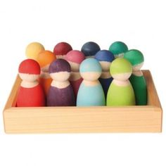 Grimm's 12 Rainbow Wooden Peg Dolls in Tray. Made in Germany. $44.95