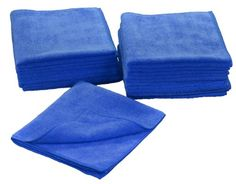 Eurow Microfiber 16 x 16 in. 300 GSM Cleaning Towels 12-Pack (Blue)