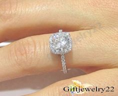 STUNNING Cushion Cut Diamond Sterling Silver Engagement Wedding Ring  For Women #giftjewelry22 #SolitaireWithAccents