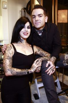 Sephora Fifth Avenue Celebrates Fashion's Night Out...Kat with Dan Smith from LA Ink