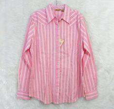 NEW Womens WRANGLER Pink Cream Check Pearl Snap Western Rodeo Top Size Large #Wrangler #Western #Casual