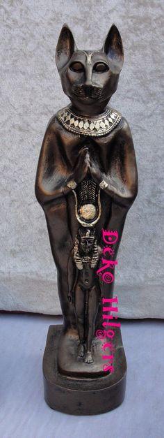 Ägyptische Katze Figur Bastet Stehend Groß Büste Ägypten Skulptur Dekoration | eBay