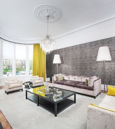 Grey with acid yellow and lilac, sitting room. Chelsea McLaine interiors project in the west end of Glasgow.