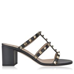 This+pair+is+crafted+entirely+using+a+luxurious+smooth+leather+and+features+a+caged+leather+  front+adorned+with+the+brand's+signature+gold-toned+Rockstud+embellishing.+A+chunky+mid-heel,+a+leather+sole+and+a+brand+embossed+insole.+This+style+would+elevate+any+ensemble.    Color:+Black/Nude/Fuchs...