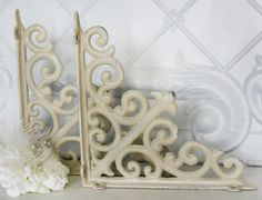 "Shelving Bracket Set, Distressed Beige, 8""x 8"",Cast Iron, Cottage, Romantic, Shabby Chic"