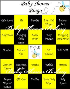 Bumble Bee theme Baby Shower Bingo game - Great way to keep guests engaged while…