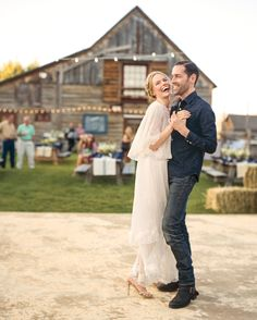 For their wedding weekend, the couple wanted their closest friends and family to come together to relax, celebrate, and seriously enjoy Montana (hiking, horseback riding, fly-fishing, you name it). The night before the ceremony, we helped plan a newfangled hoedown that put the focus on good food, great drinks, and some amazing music—Kate and Michael's favorite country singers, Kelly Willis and Bruce Robison. In this pic, the soon-to-be-bride takes to the dance floor in a vintage Chloé dress…