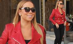 Mariah Carey rocks a striking red leather jacket with skintight jeans