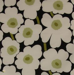 Pieni Unikko 2 in Black, White and Green – Bolt of Cloth Roman Blinds, Light Shades, Printing On Fabric, Hello Kitty, Kids Rugs, Black And White, Canvas, Classic, Tela