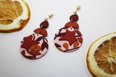 AUTUMN MIXED LEAF Handmade Polymer Earrings Clip on option | Etsy Polymer Clay Art, Handmade Polymer Clay, Polymer Clay Earrings, Jewelry Party, Wedding Jewelry, Etsy Jewelry, Handmade Jewelry, Fall Color Palette, Bridesmaid Jewelry