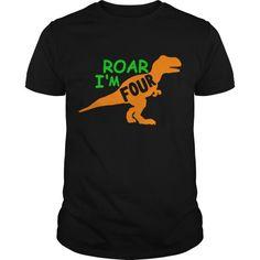 Roar I'm Four/dino Bday/trex/roar Shirt T Shirt