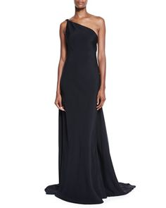 One-Shoulder+Draped+Strappy-Back+Gown,+Black+by+Kaufman+Franco+at+Neiman+Marcus.