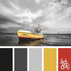 The yellow colors in this palette are a beautiful contrast to the grey scenery!   Click for more color combinations inspired by beautiful landscapes and other coloring inspiration at http://sarahrenaeclark.com   Colour palettes, colour schemes, color therapy, mood board, color hue