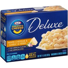 Kraft Macroniaroni and Cheese Deluxe, White Cheddar and Garlic and Herbs, Ounce: Creamy white cheddar cheese sauce and cavatappi pasta with flavorful Italian herb seasoning mix. Cheddar Cheese Sauce, White Cheddar Cheese, Cheese Calzone, Boxed Mac And Cheese, Prince, Macaroni Cheese, Seasoning Mixes, Garlic, Herbs